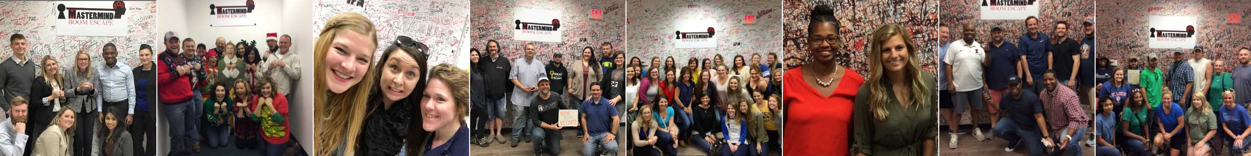 Photos of different team building groups that have participated in Mastermind Room Escape